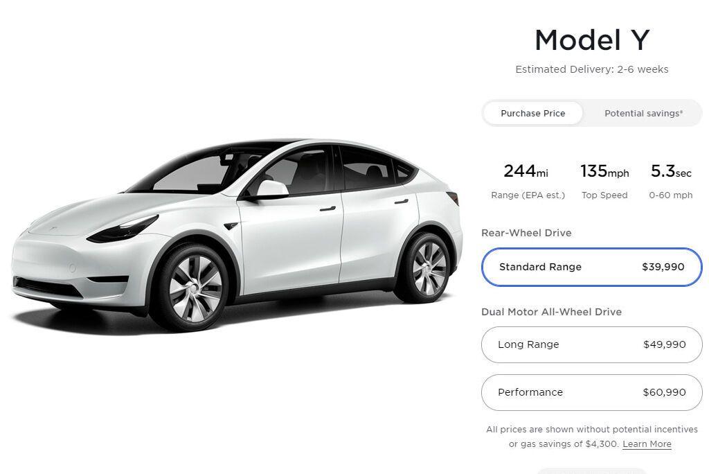 За базовую модификацию Model Y RWD Standard Range просят от $39 990, что на $2000 дешевле прежнего прайса