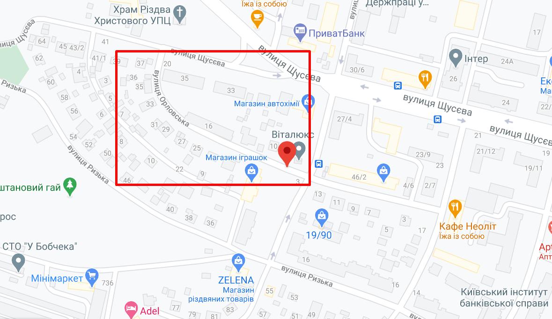 Карта вулиці Орловської в Києві.