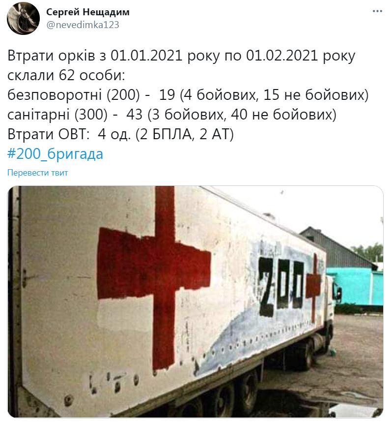 Потери террористов на Донбассе