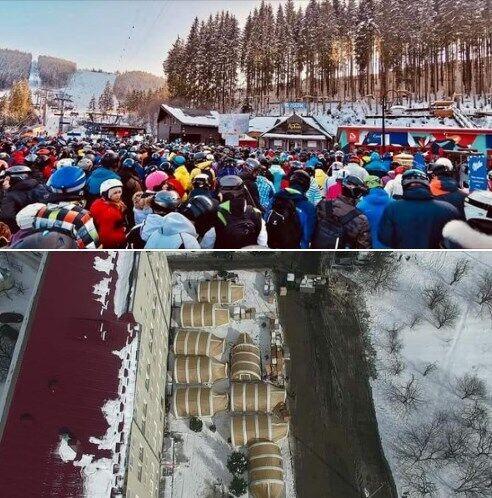 Порівняльне фото на Буковелі та в Івано-Франківську.