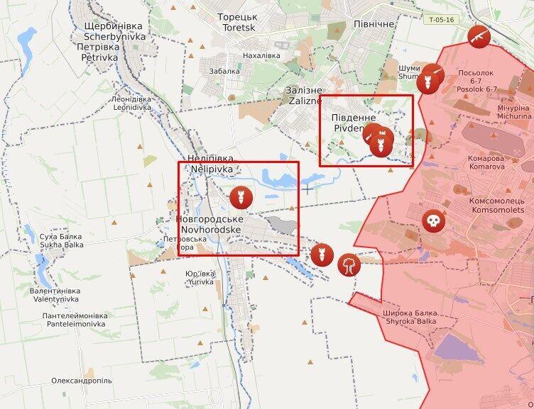 Карта обстрелов в районе Южного и Новгородского