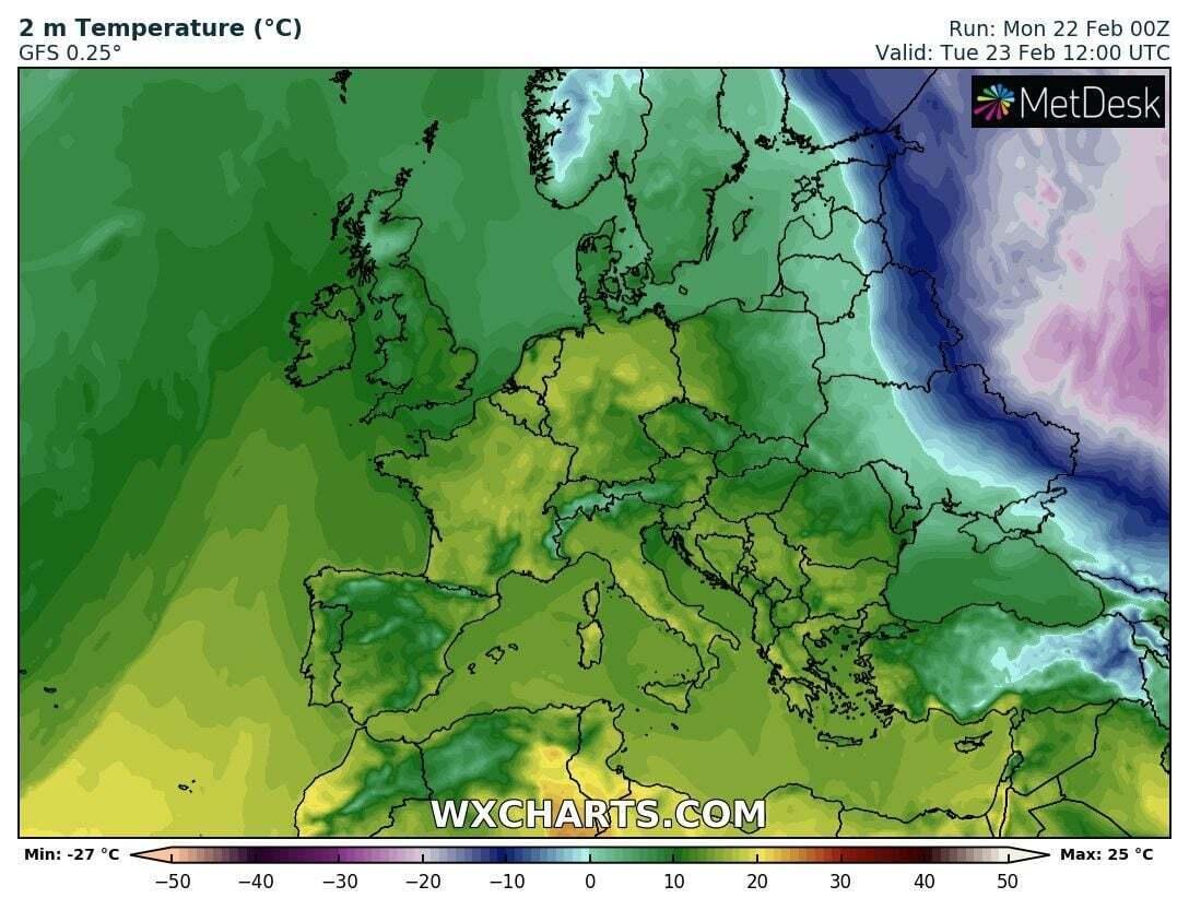 Карта погоды в Украины 23 февраля