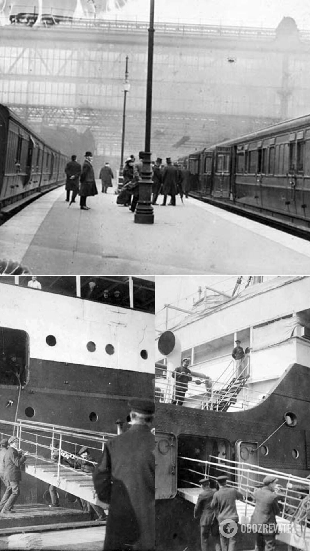 """Первый и последний поезд, который привез пассажиров на """"Титаник""""; члены команды убирают сходни после посадки пассажиров"""