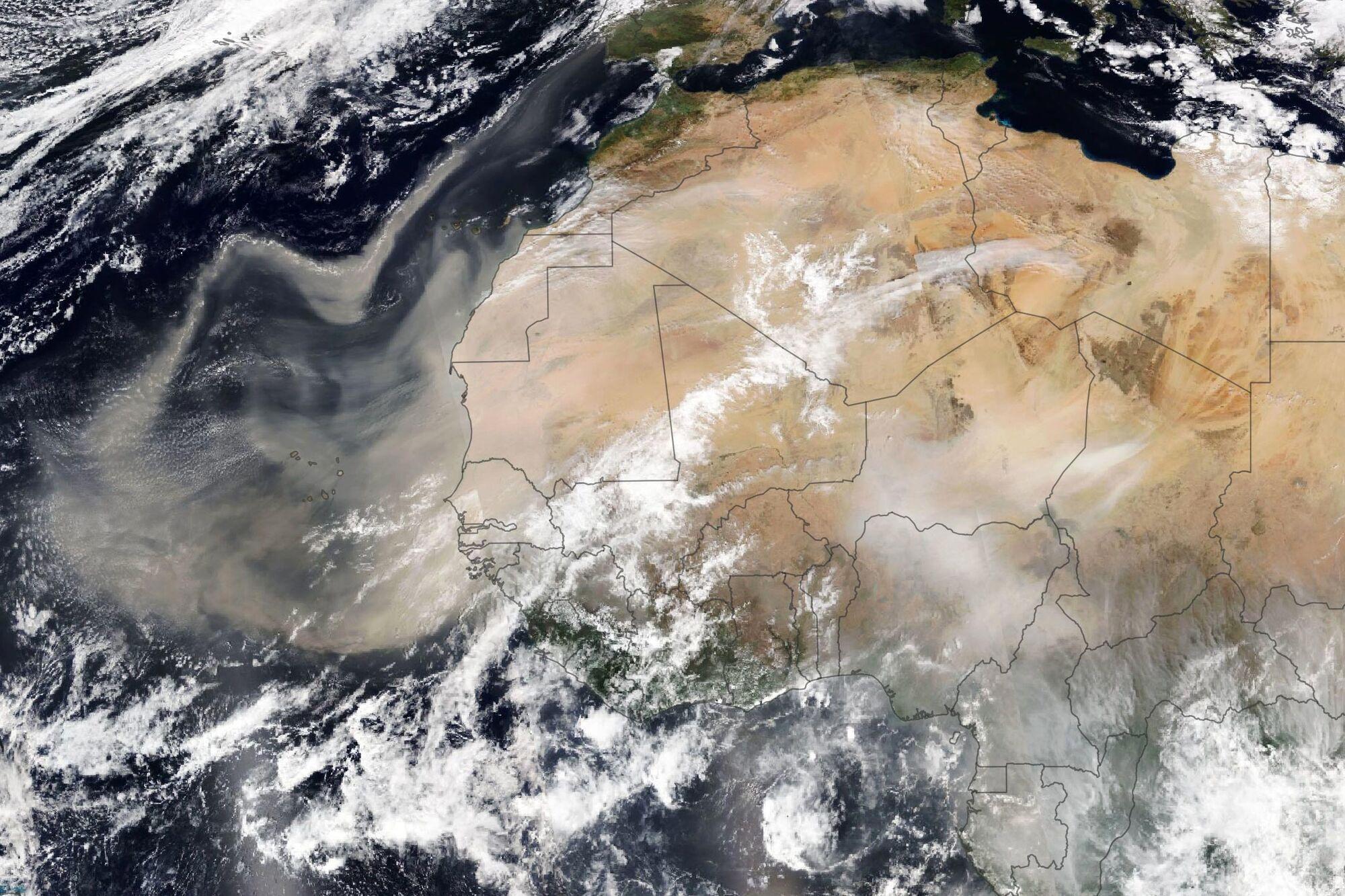 Мапа розповсюдження пилу з Сахари
