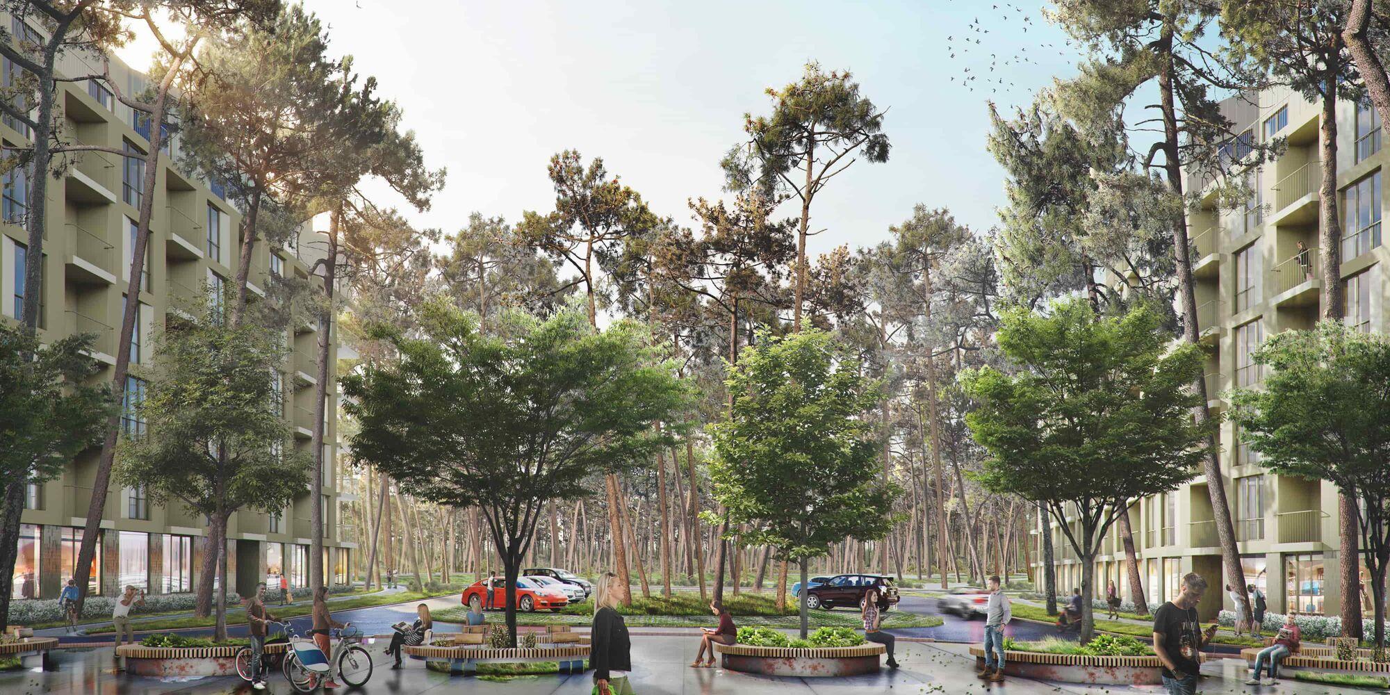 Рядом разместятся общественные пространства, зарядки для электромобилей, собственные экофермы