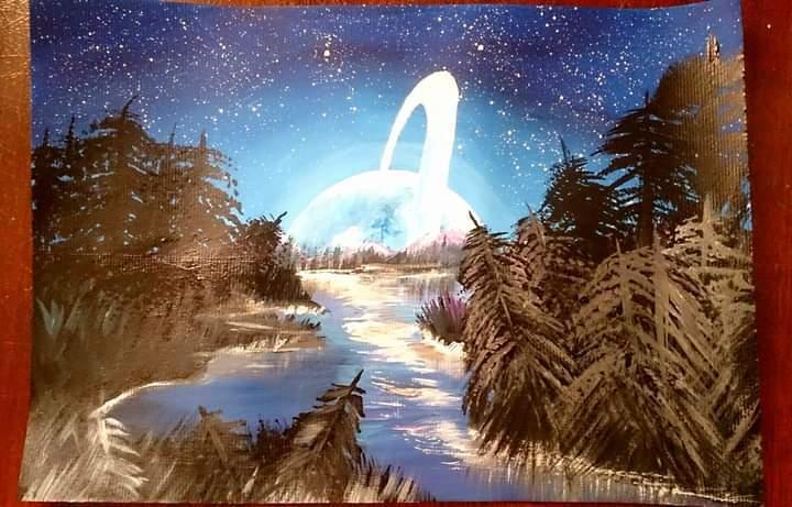 Максим рисует только космос