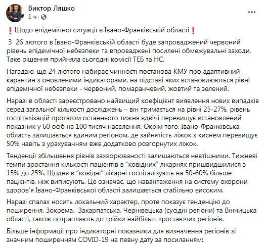 Facebook Віктора Ляшка.