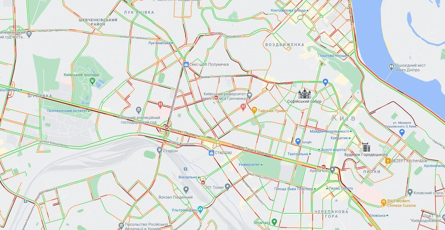 Пробки в центре Киева.