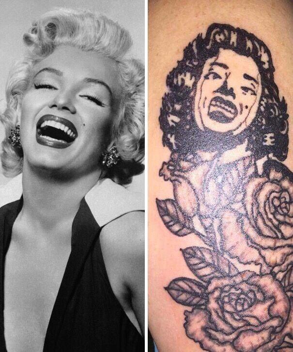 Мерлин Монро на татуировке не похожа на себя.