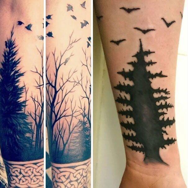 Парень хотел татуировку с лесным пейзажем – вышел ужасный рисунок.