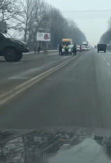 Блокпост в Івано-Франківській області.