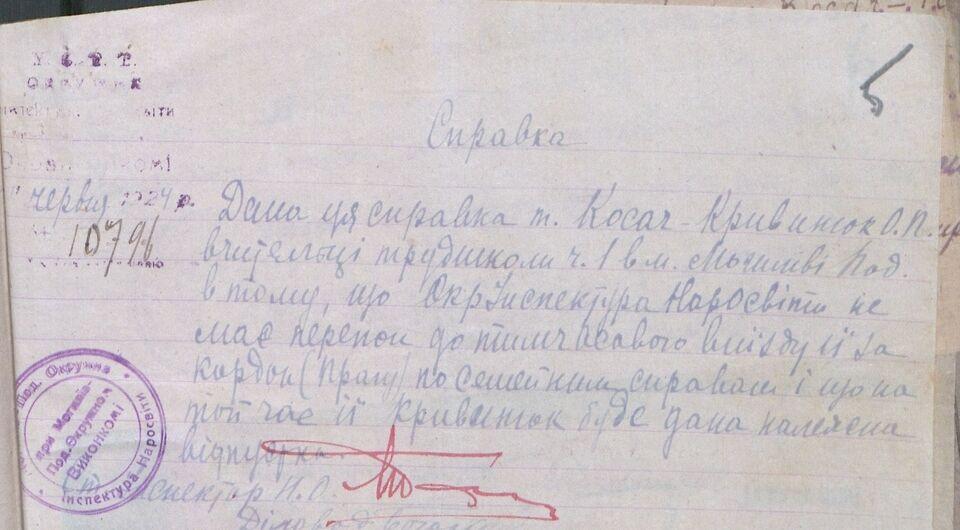 Документи з архіву про життя сім'ї Косач