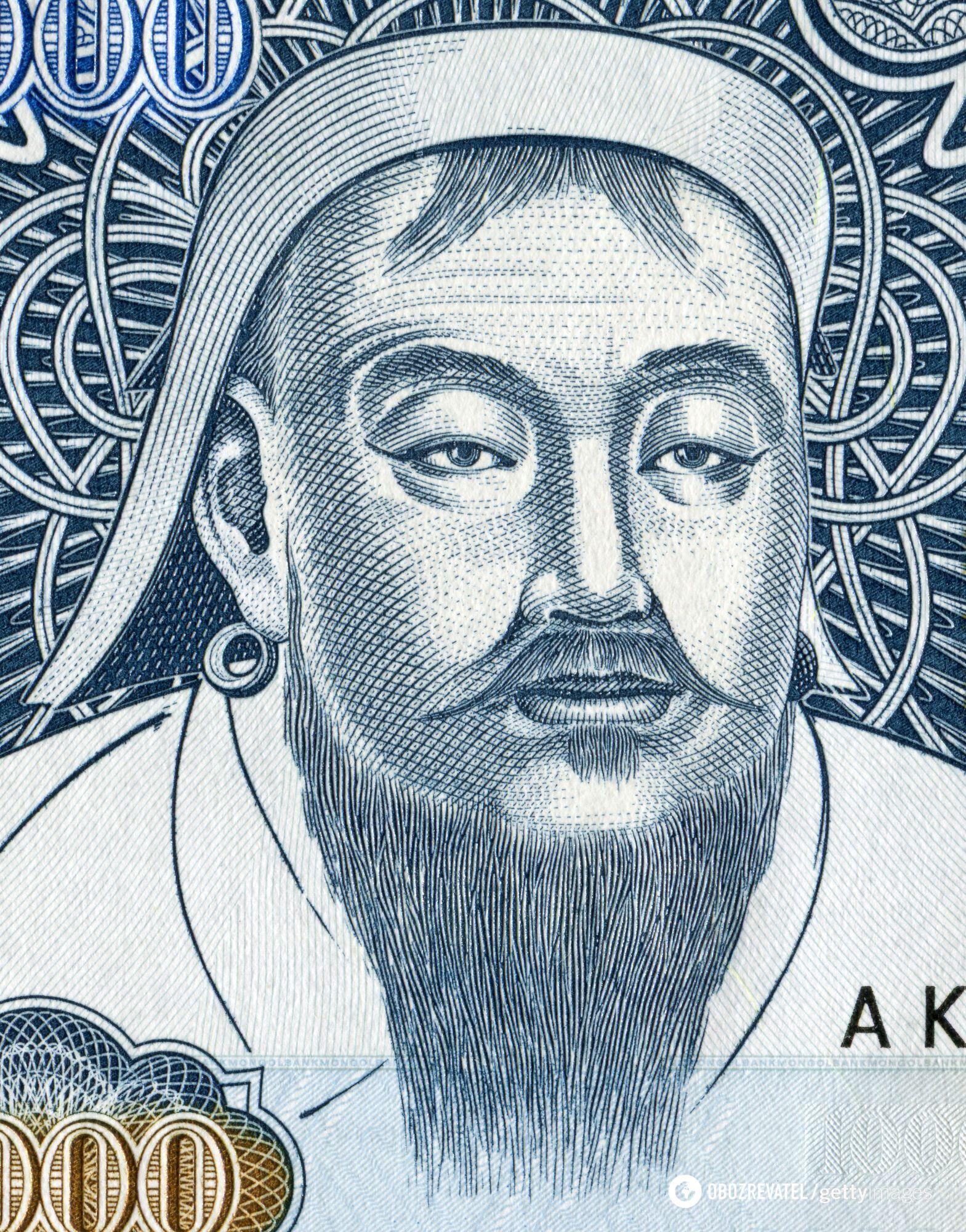 Чингісхан на монгольській банкноті в 1000 тугриків