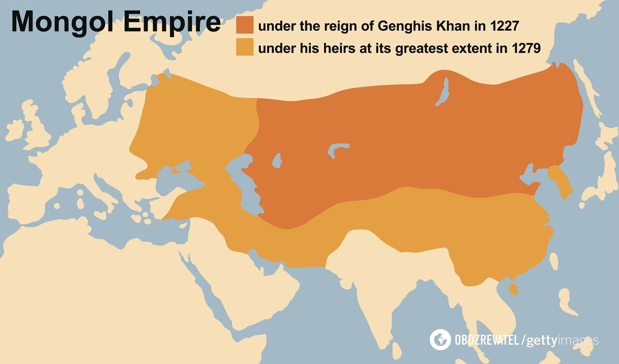 Монгольська імперія Чингісхана в 1227-му і великою мірою в 1279 році