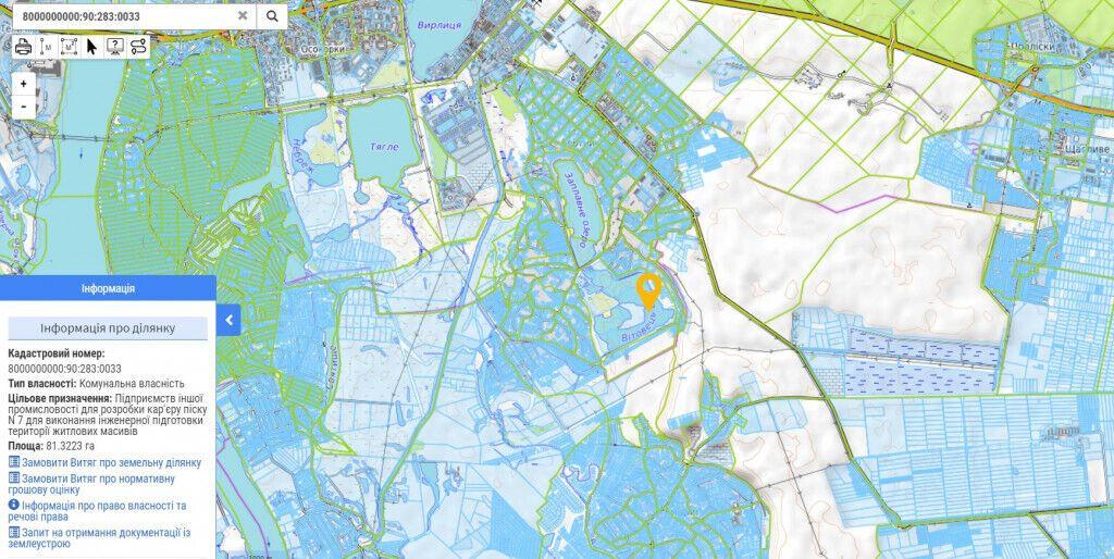 Участок площадью 81,32 га на Кадастровой карте Украины.