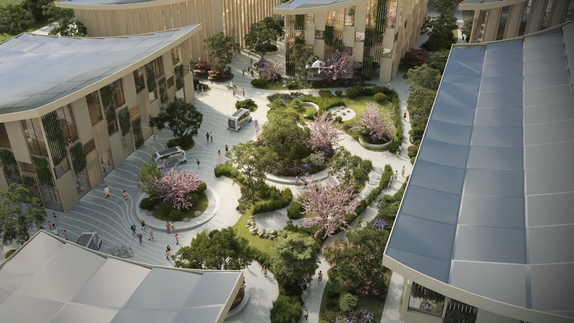 Для отдыха жителей предусмотрено несколько парков и большая центральная площадь, на которой будут устраивать различные мероприятия
