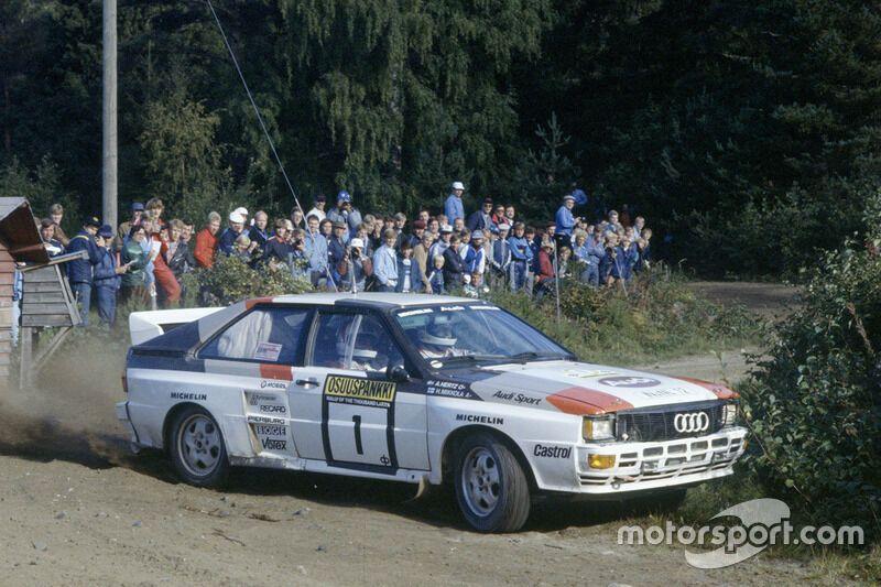 """Ханну Міккола і Арне Герц в Audi Quattro на шляху до перемоги в """"1000 озер"""" в 1983 році, коли вони завоювали титул чемпіонів світу"""
