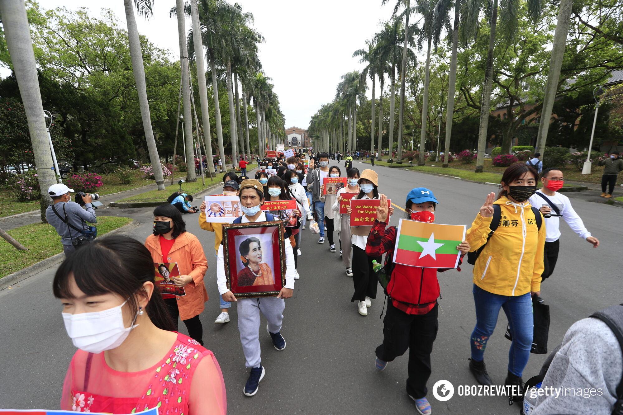 Бірманці на Тайвані протестують проти перевороту в М'янмі