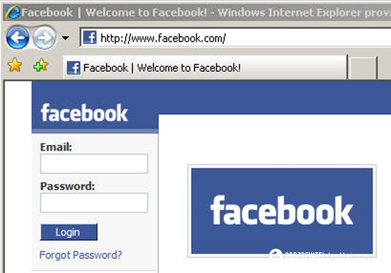 Первоначальный вид страницы Facebook