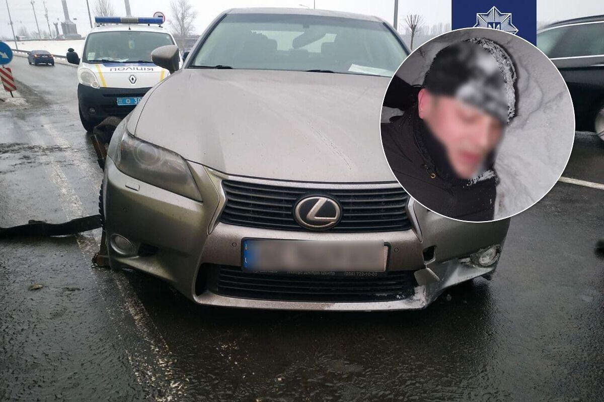 Угонщик убегал от патрульных по замерзшему Днепру. Коллаж из фото полиции