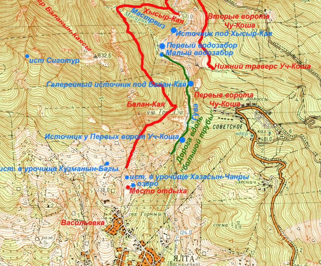 Водозабір Уч-Кош на мапі Криму