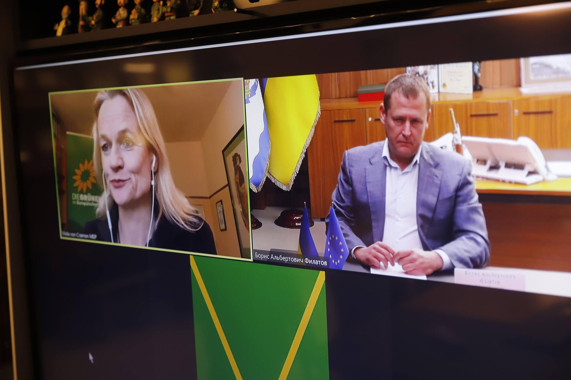 Борис Філатов по відеозв'язку поспілкувався з пані Віолою фон Крамон-Таубадель