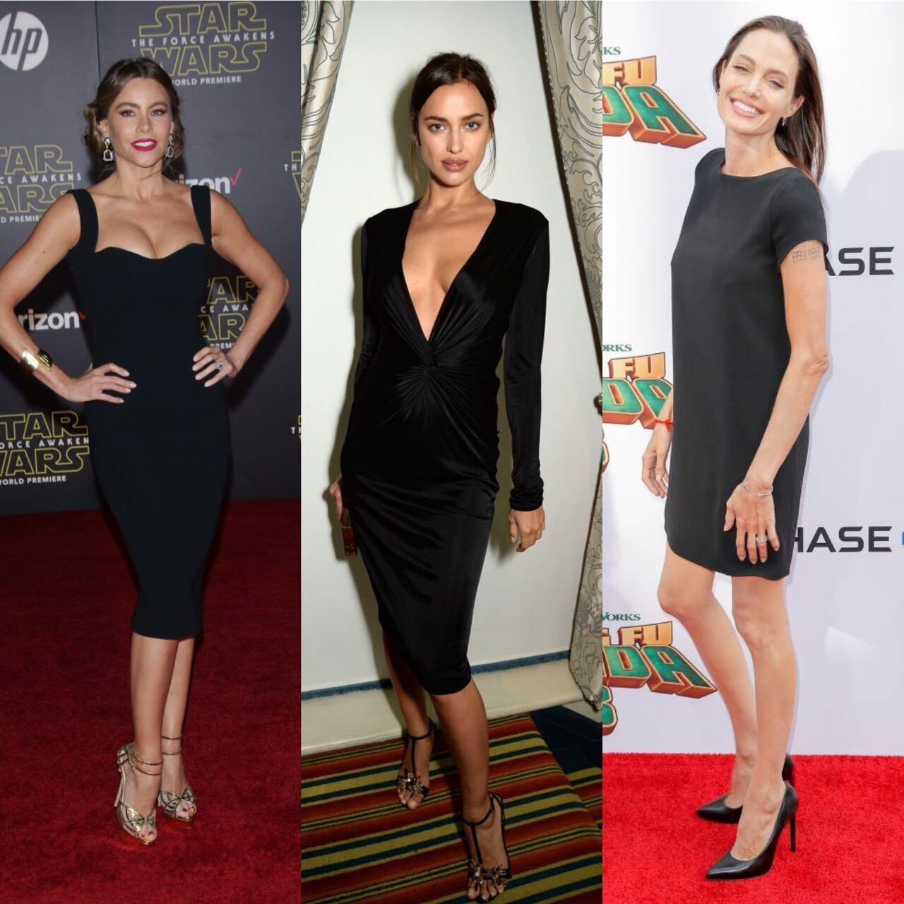 София Вергара, Анджелина Джоли, Ирина Шейк надели классические черные платья.
