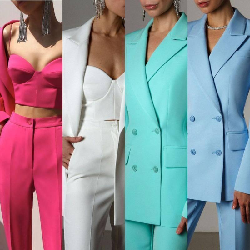 Яркие женские костюмы станут идеальным образом на свидание.