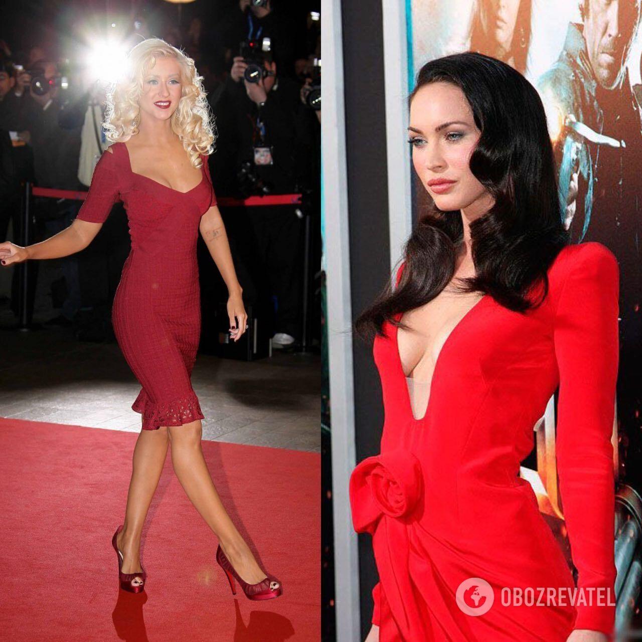 Меган Фокс и Кристина Агилера вышли на ковровую дорожку в соблазнительных красных платьях.