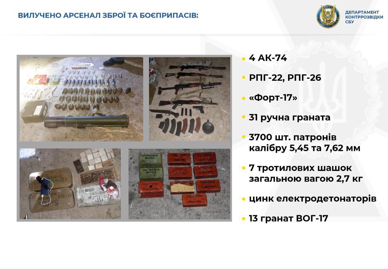 У ході обшуків вилучено арсенал зброї і боєприпасів