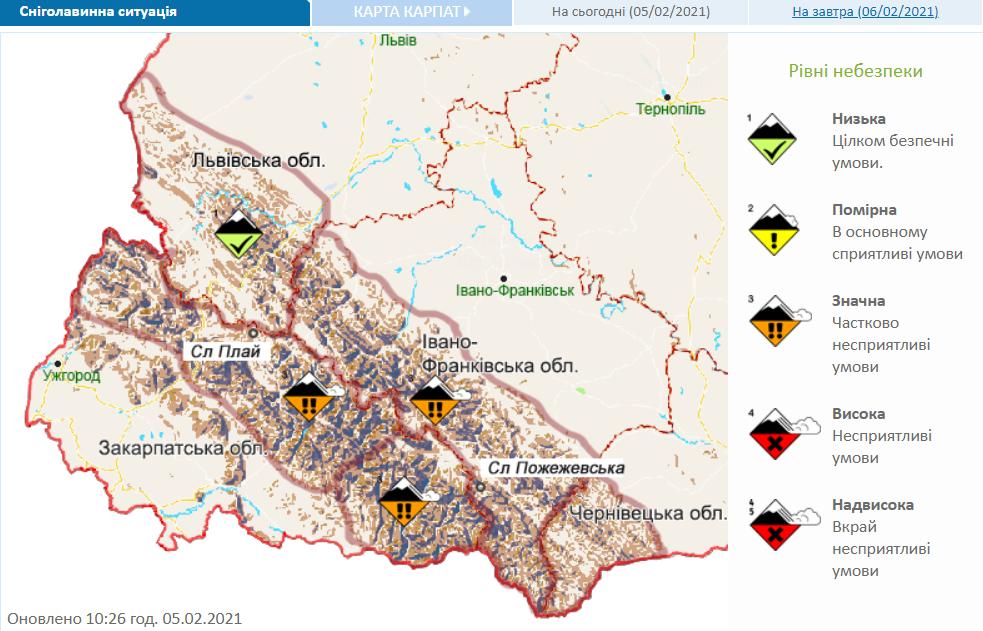 Снеголавинная опасность в украинском Карпатах