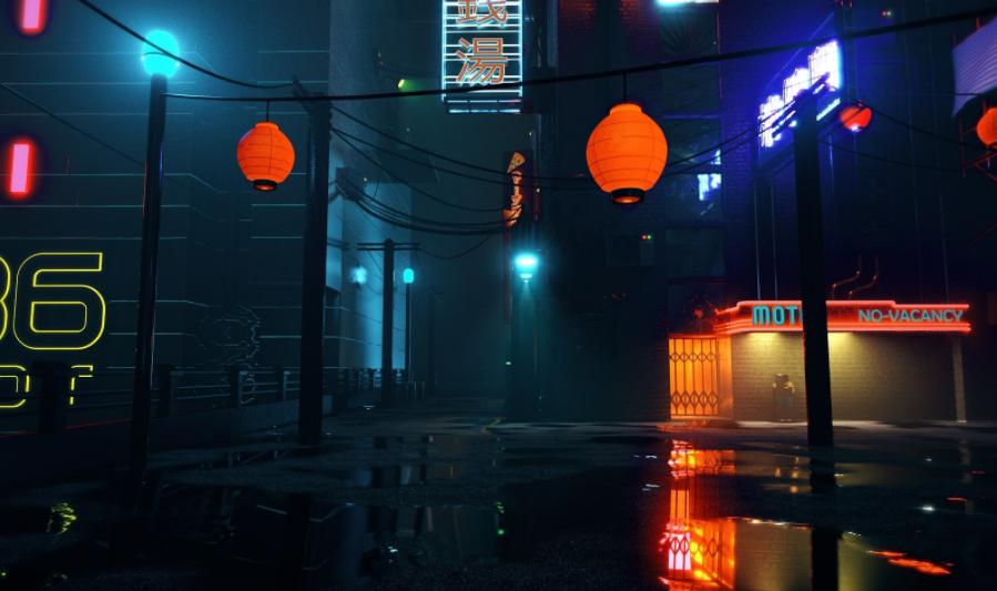 Cyberpunk city.
