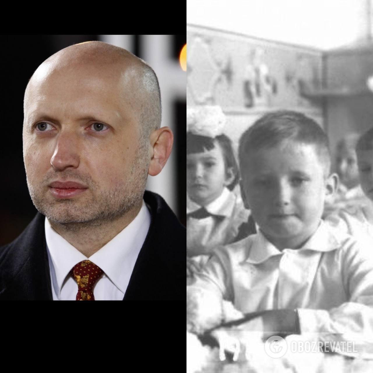 Александр Турчинов: в детстве и сейчас.