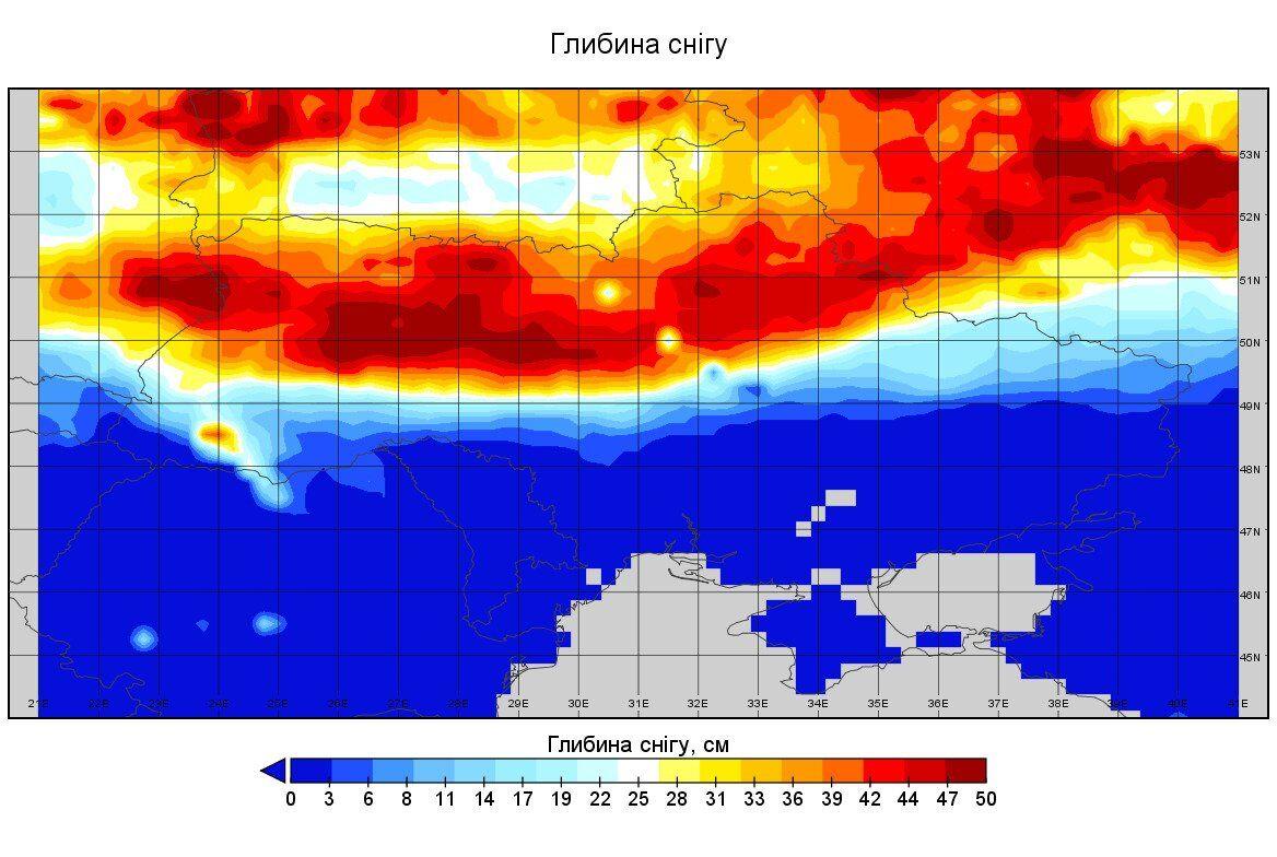 Данные относительно глубины снега