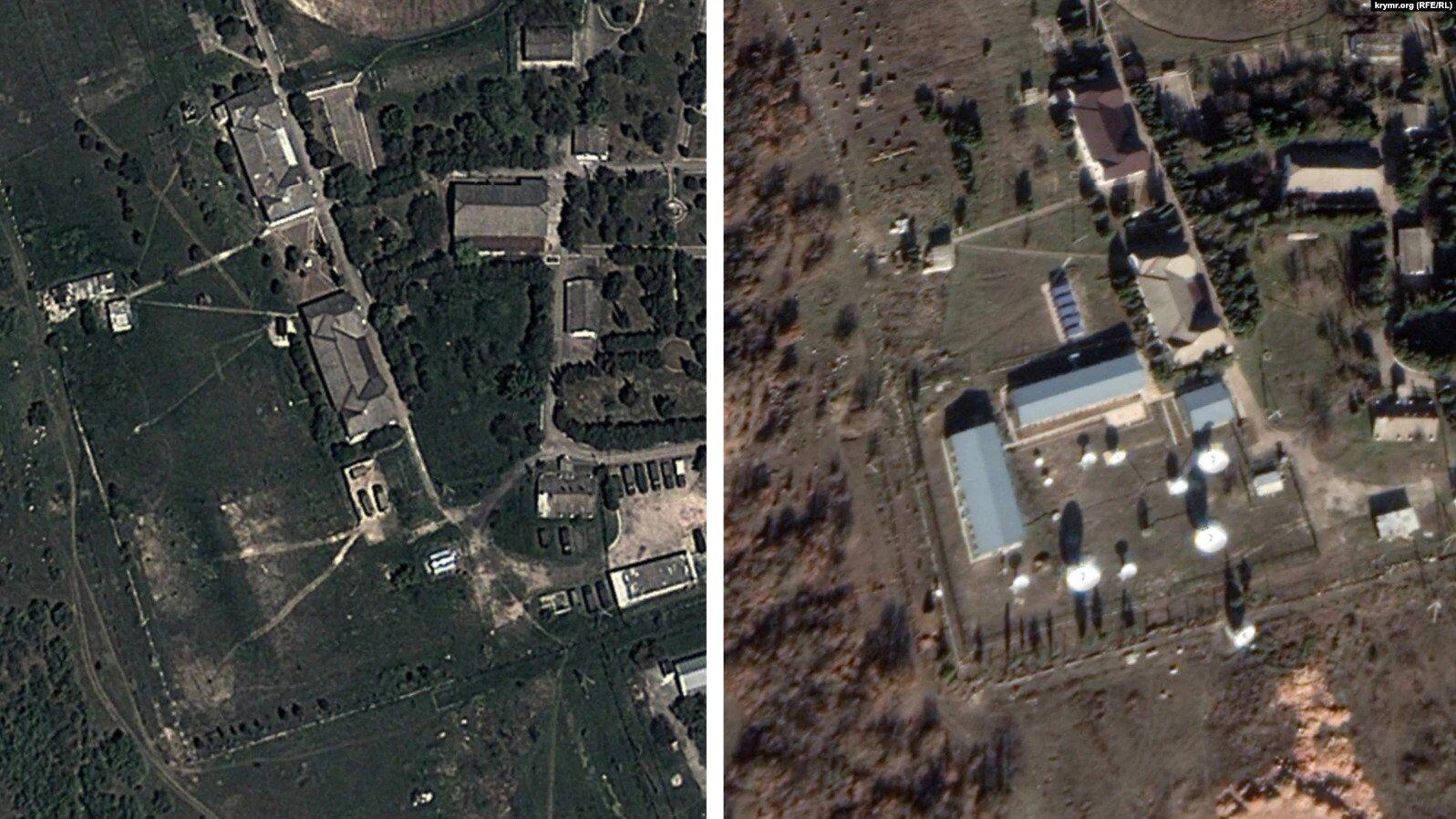 На правом снимке видна новая радиотехническая станция, появившаяся вблизи Севастополя за последние четыре года