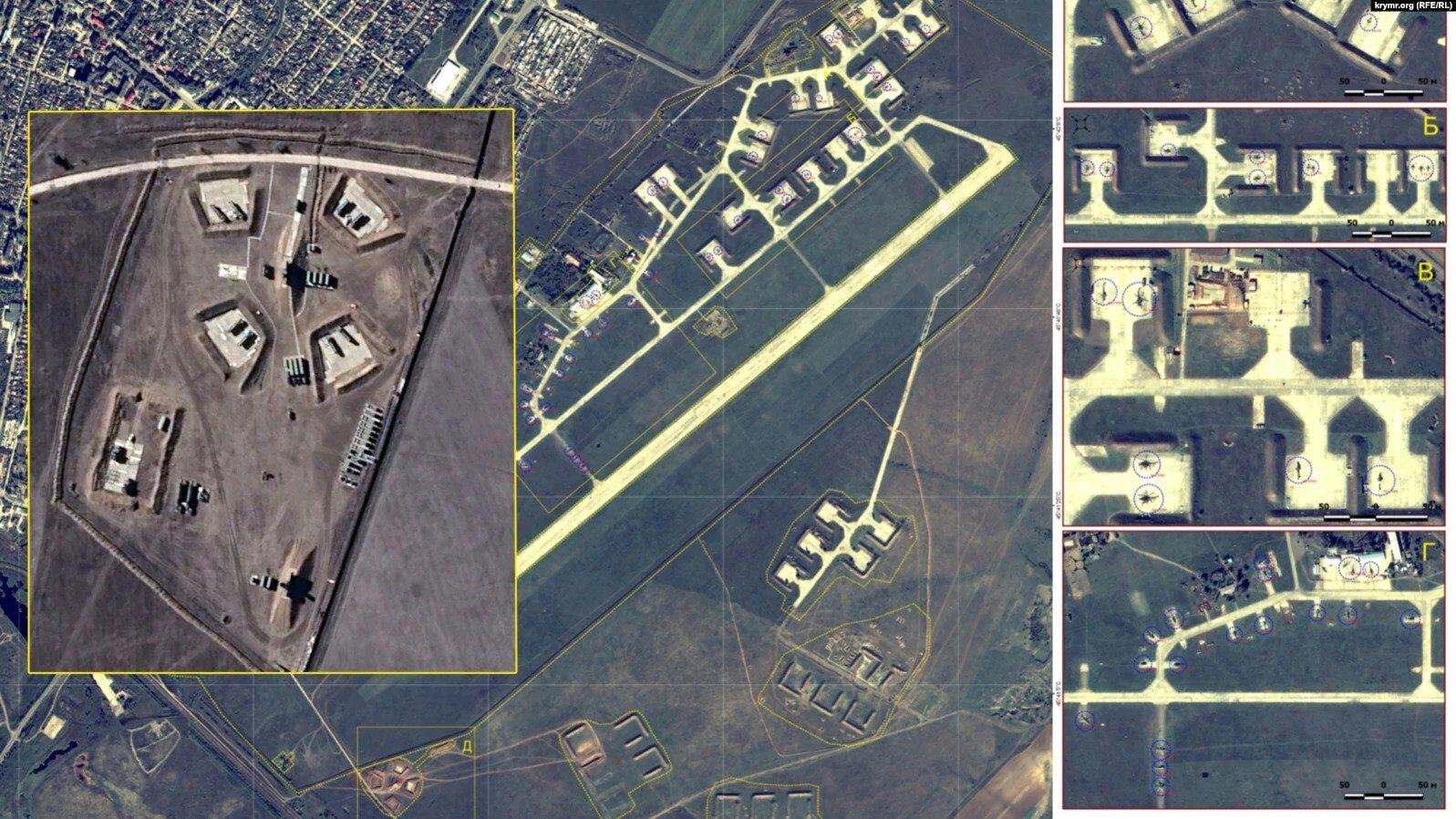 Джанкойский аэродром. Обозначения систем С-400 и вертолетов МИ-28Н