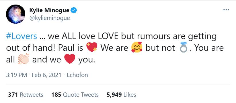 Кайли Миноуг развеяла слухи о помолвке