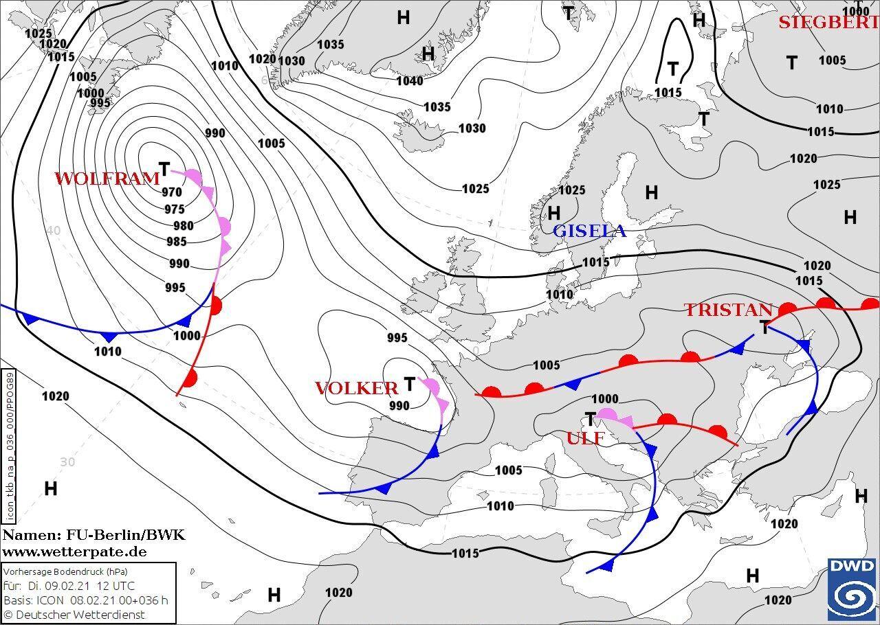 Влияние циклона Ulf на погоду в Украине 10 февраля