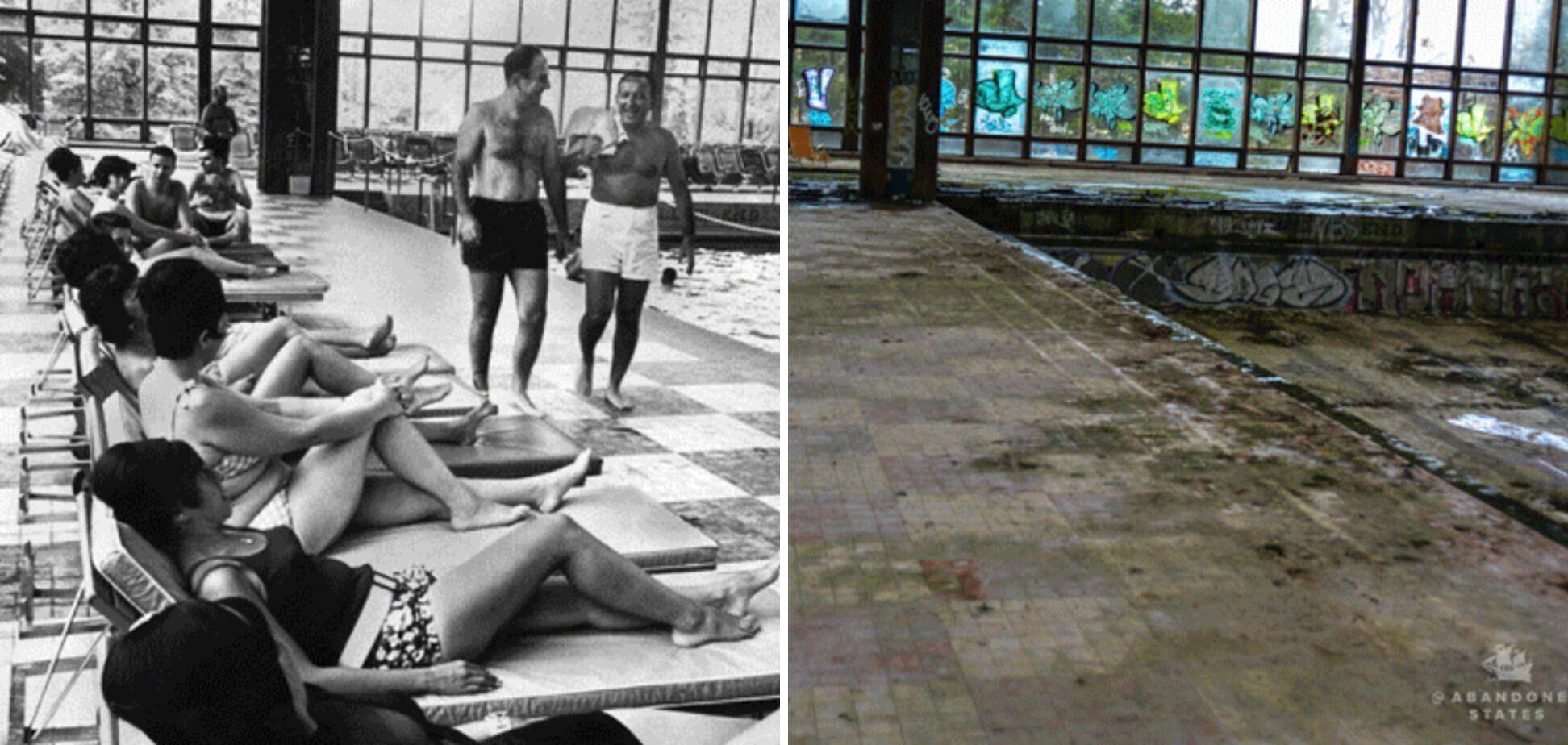 Часть крытого бассейна в Grossinger, открытие которого посещала актриса Элизабет Тейлор