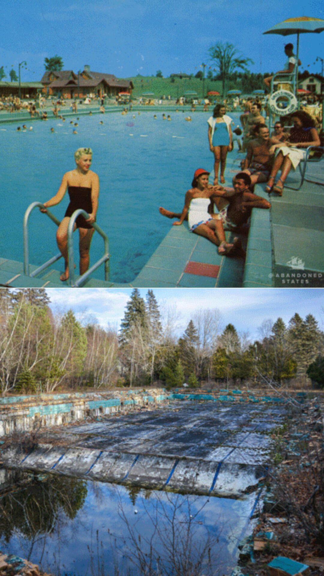 Открытый бассейн олимпийских размеров в Grossinger, построенный в 1949 году, обошелся в $400 тысяч
