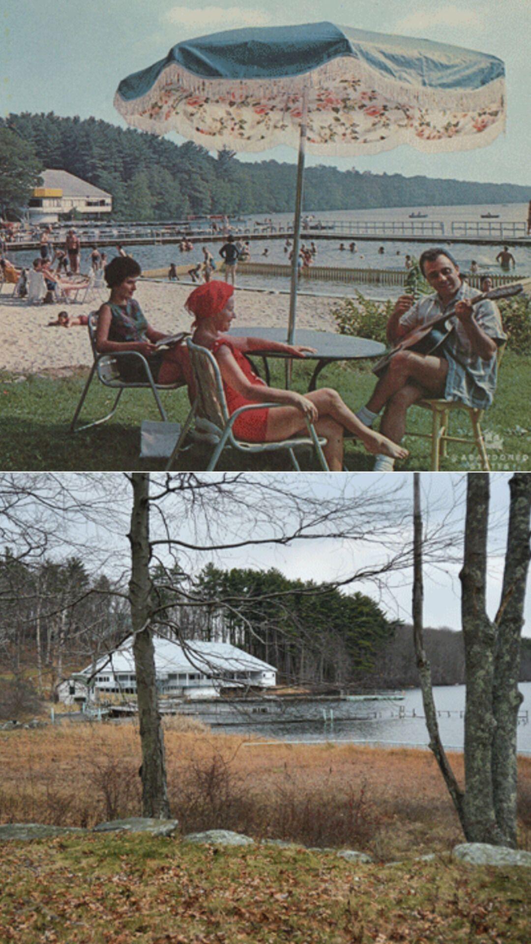 Пляж у озера в Поконосе в 1967 году и сейчас