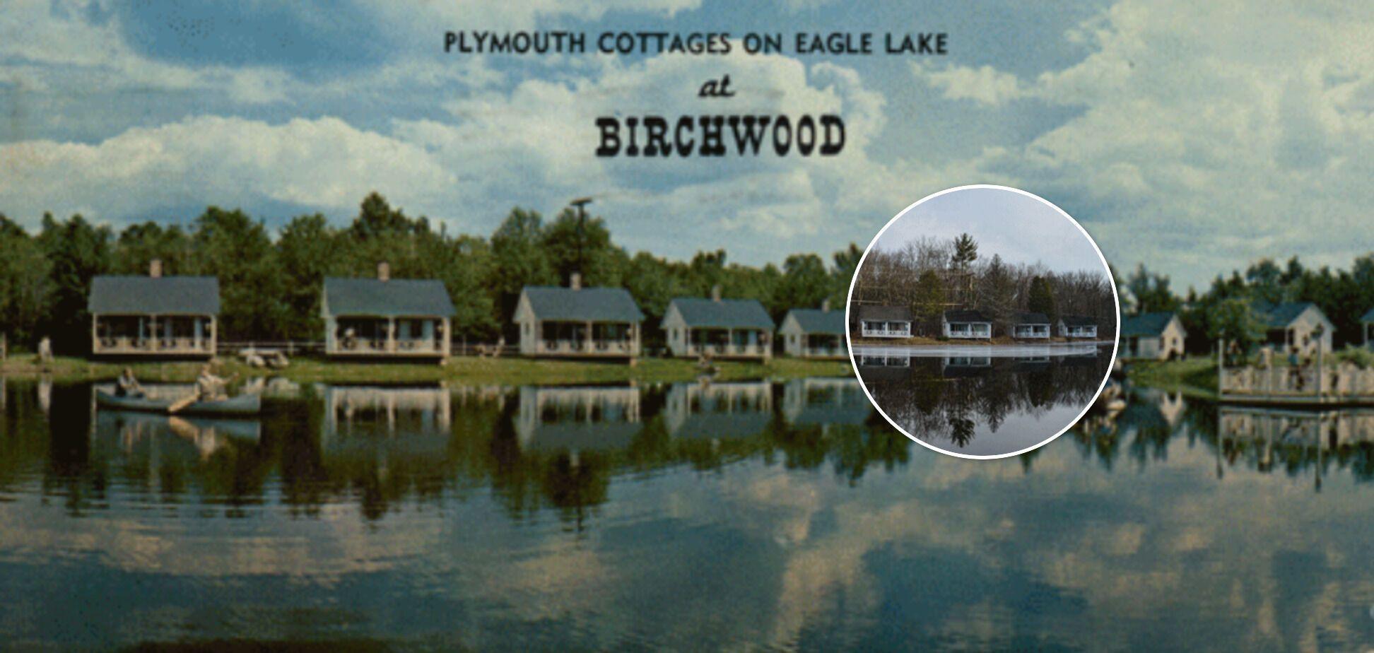 """Подпись на открытке: """"Берчвуд – единственный курорт, предлагающий крытый бассейн, открытый бассейн и озеро с пляжем..."""". На фото изображено красивое озеро Орла у деревни Грин"""