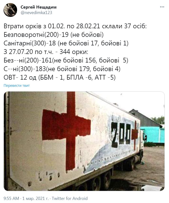 Втрати терористів на Донбасі