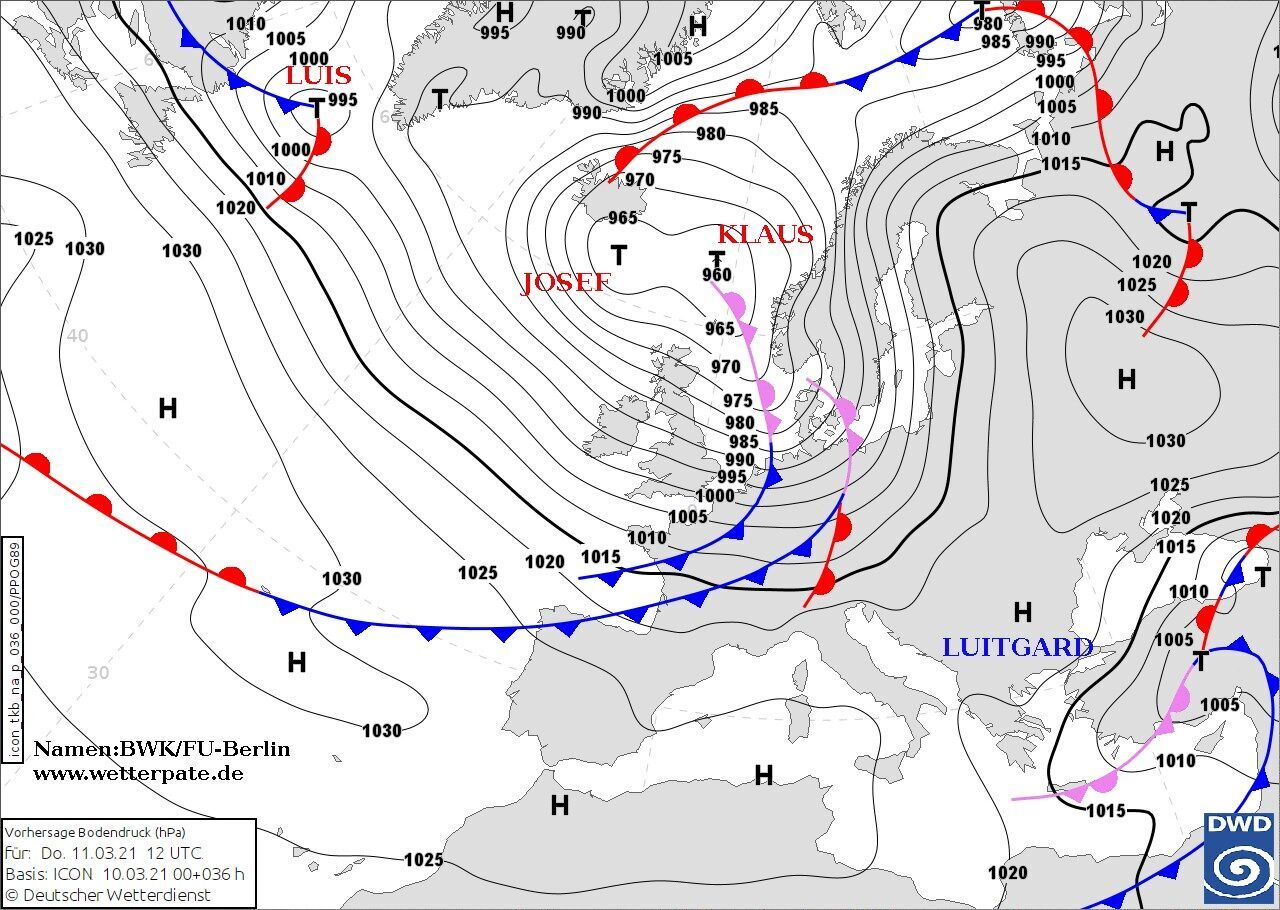 В Украину придут циклоны Jozef и Klaus