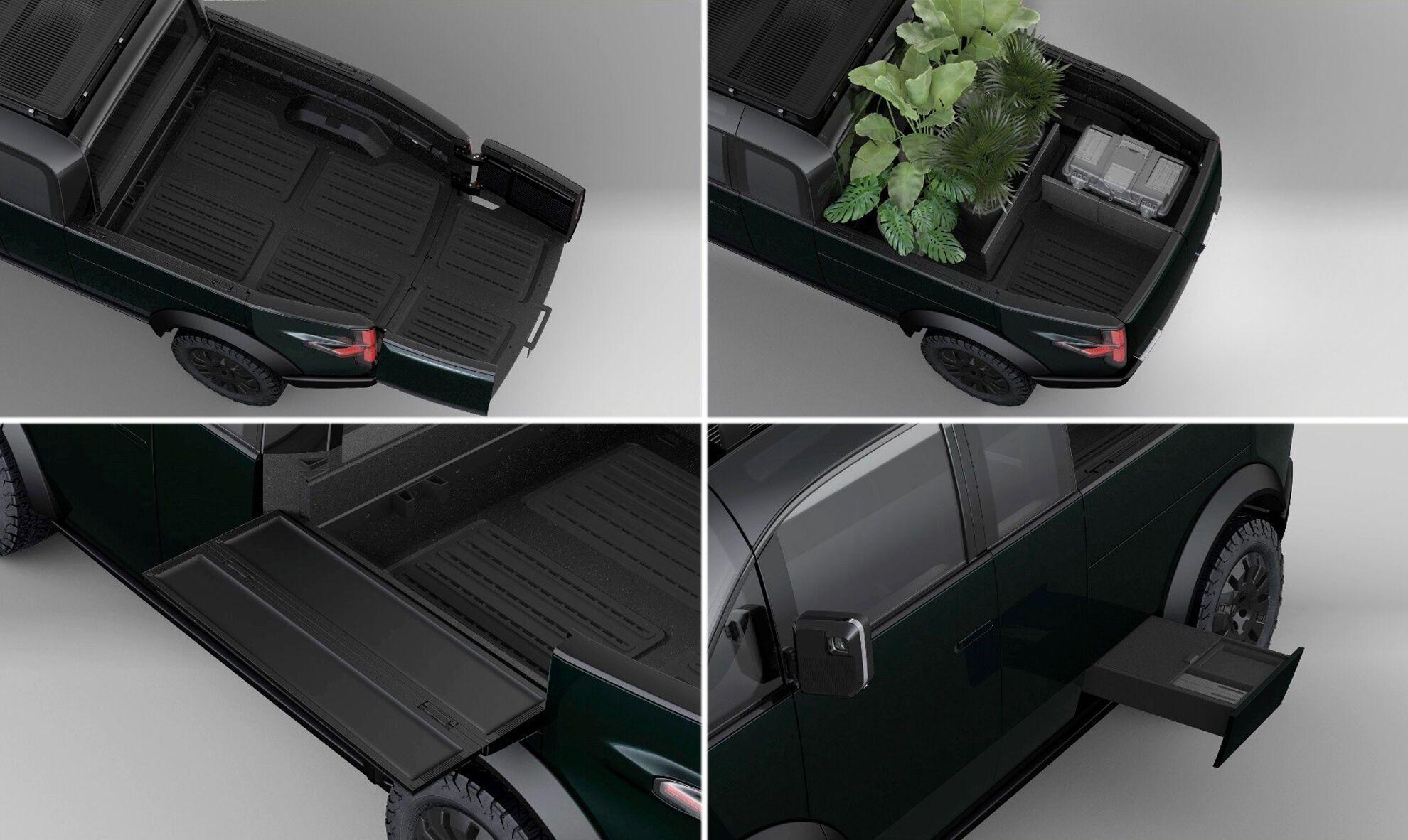 Секции боковых стенок кузова можно превратить в небольшие столики, а под ними есть выдвижные модули-органайзеры