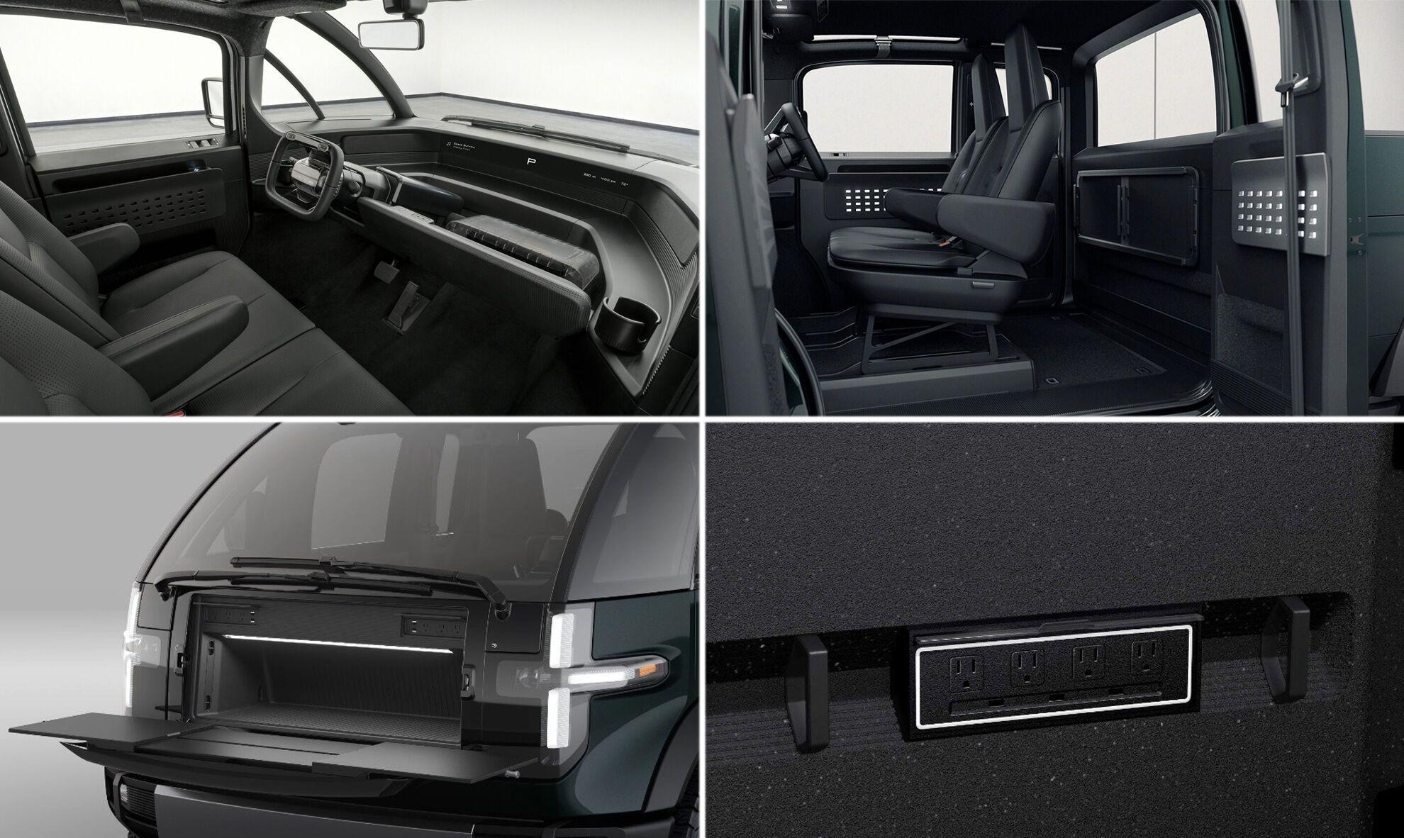 в передней части кузова оборудован багажный отсек. В его откидную крышку встроен раздвижной стол, а внутри есть 6 розеток и 4 USB-порта
