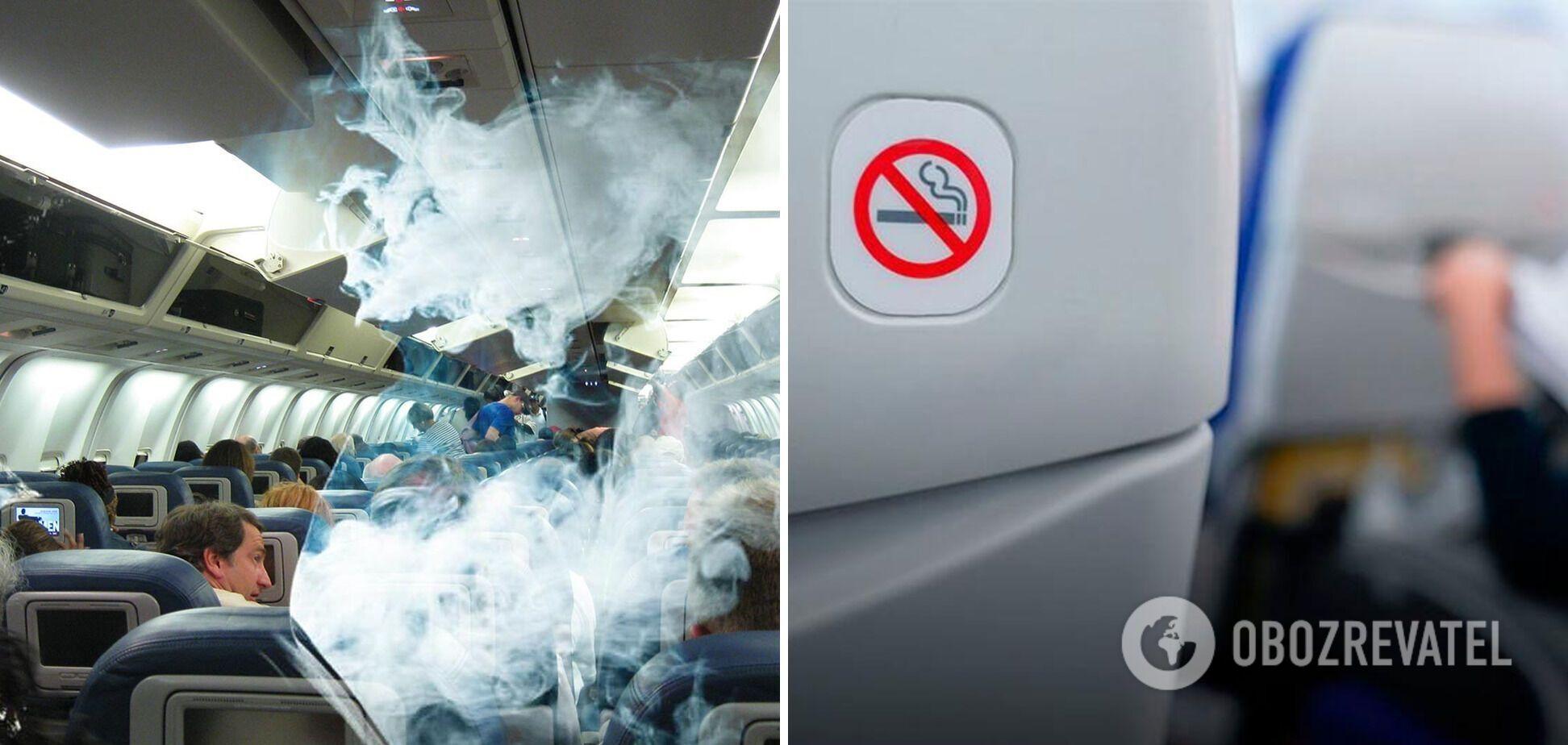Курение в самолете запрещено.