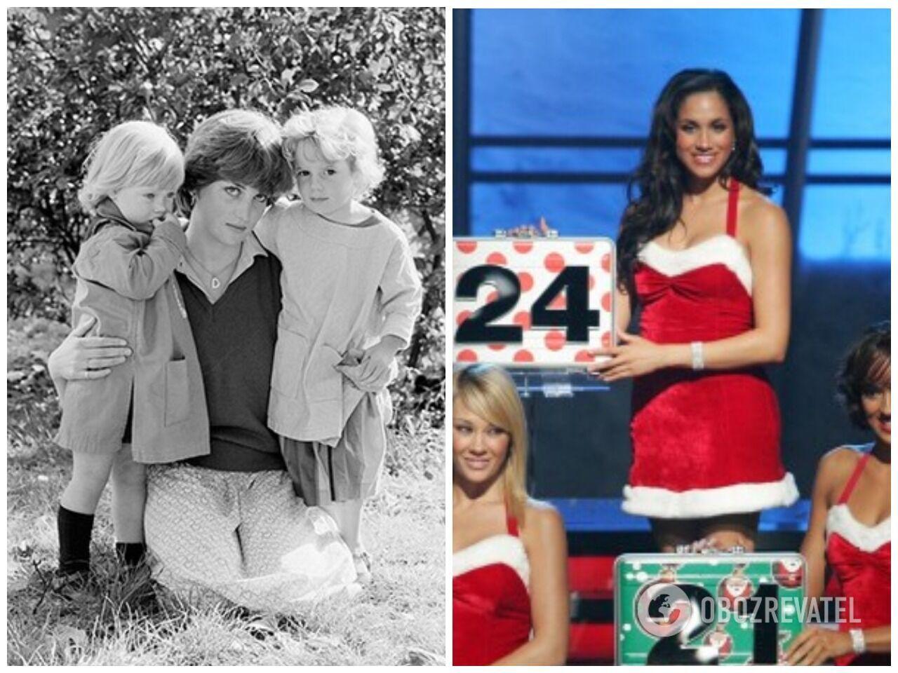 """Диана, работающая в детском саду (1981 г.) и Меган Маркл на съемках шоу """"Deal or No Deal"""" (2014 г.)"""