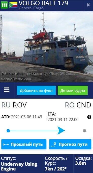 Інформація про затонуле судно