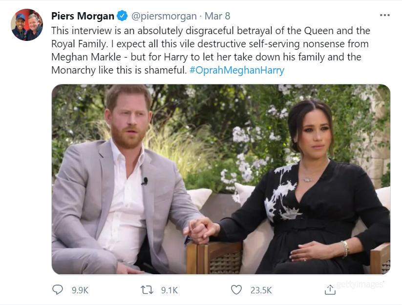 Пирс Морган раскритиковал Меган и Гарри